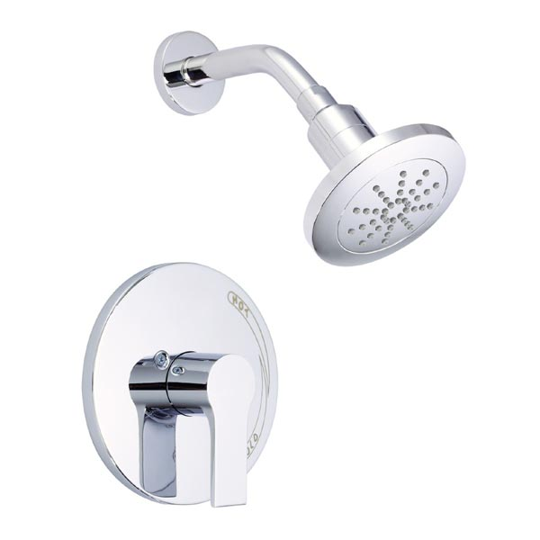 single handle shower trim, shown in chrome