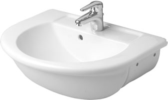 Semi-recessed washbasin, shown in white