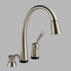 Delta Diamond Seal kitchen faucet, shown in brushed stainless