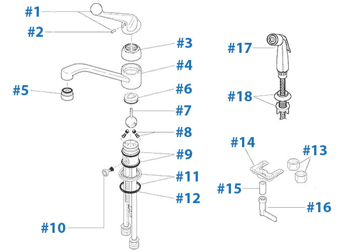 Delta faucet repair parts diagram - Models 101 and 175