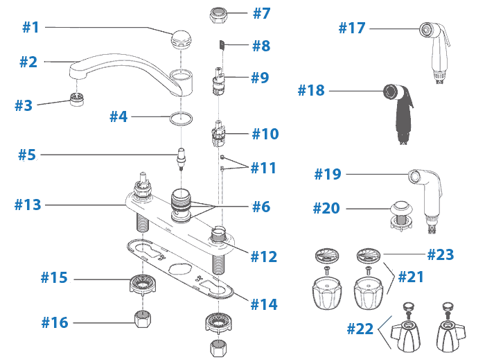 Delta faucet repair parts diagram - Models 2100, 2102, 2400, 2402