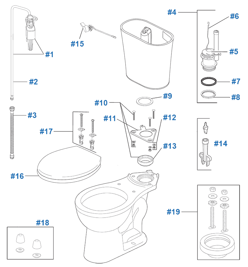 Parts diagram for Lilah toilets