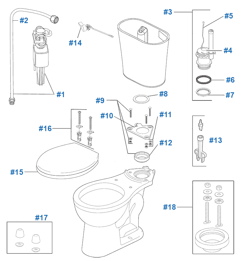 Parts diagram for Lilah toilet with rigid supply line