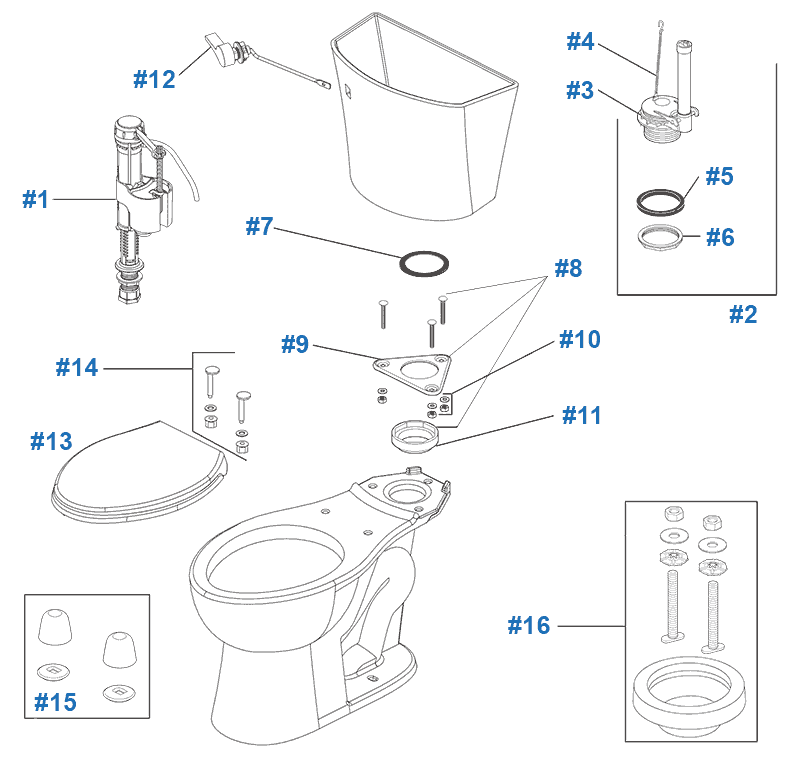 Parts diagram for Turner toilets