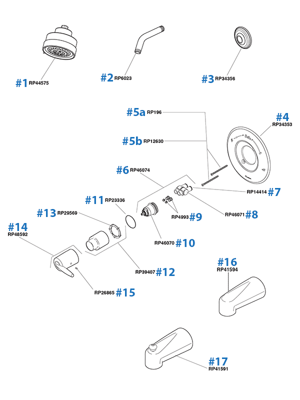 Delta Tub Shower Replacement Parts - Grail Series