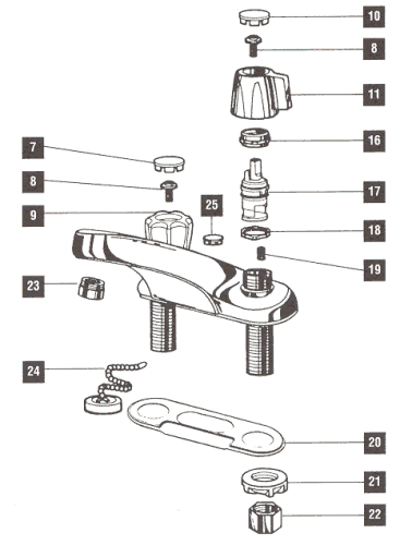 Bathroom Faucet Diagram repair parts for one and two handle delta bathroom faucets