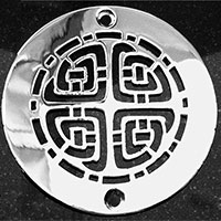 Celtic pattern round drain