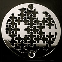 Puzzle pattern round drain