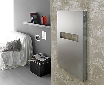 Elory series electric towel warmer, shown in brushed stainless steel