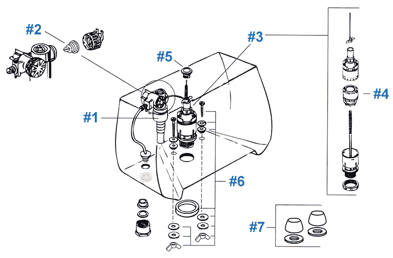 Eljer toilet repair parts diagram - the Sophie series
