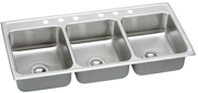 triple bowl stainless steel kitchen sink with six faucet holes