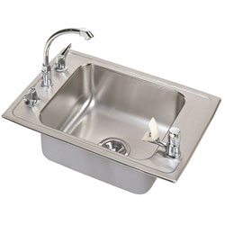 Example of a single bowl handicap accessible sink with bubbler