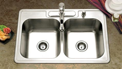 Equal double bowl Houzer Glowtone sink