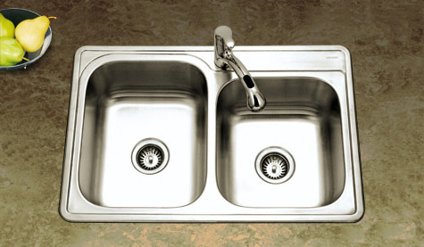Offset double bowl Houzer Glowtone sink