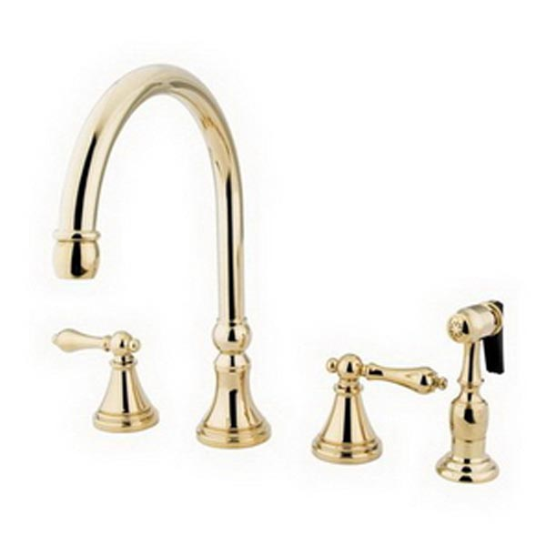 Polished Brass 8in widespread kitchen faucet