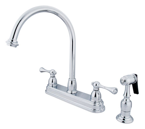image of ES3751BLBS deckmount gooseneck kitchen faucet with brass side spray
