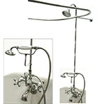 Clawfoot shower enclosure with elephant spout tub filler and handshower