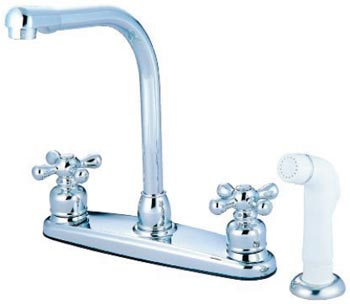 high arc kitchen faucet with side spray