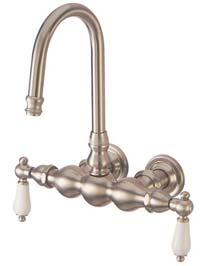 image of DT0018PL 3-3/8 inch center hi-rise spout leg tub filler with hand shower - porcelain lever handles
