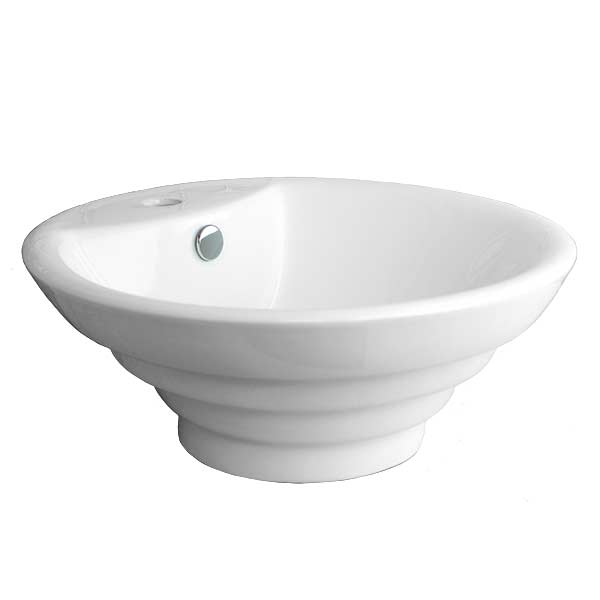 Conical shaped porcelain vessel sink with stepped sides