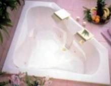 picture of an Este Quasar jetted bath tub, shown in white