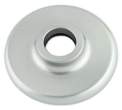extra wide escutcheon, shown in satin chrome