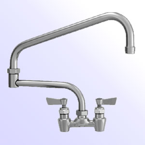 Fisher 4 inch center to center backsplash mount faucets with double jointed swing spout and close elbows