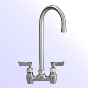 Fisher 4 inch center to center backsplash mount faucet with swivel/rigid gooseneck spout - lead free