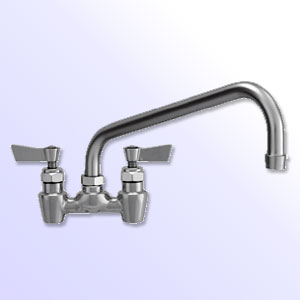 Fisher 4 inch center to center backsplash mount faucets with swing spout and close elbows