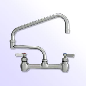 Fisher 8 inch center to center backsplash mount faucets with double jointed swing spout
