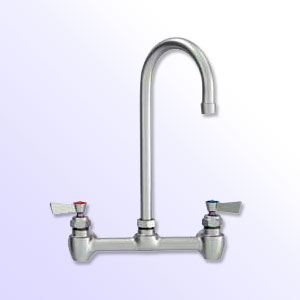 Fisher 8 inch center to center backsplash mount faucets with gooseneck spout and close elbows