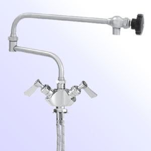 Fisher two handle single hole deck mount faucets with double jointed control swing spout