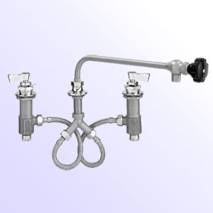 Fisher widespread deck mount faucets with control swing spout