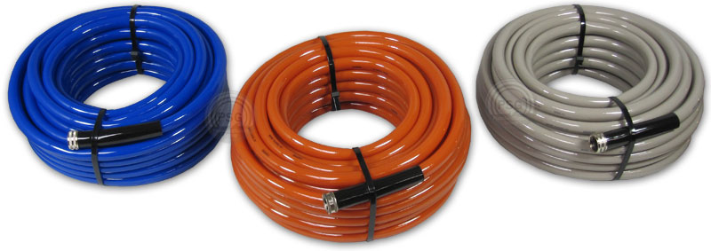 Great Flexeel Reinforced Hoses In Blue, Terracotta And Sandstone Colors