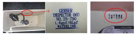 How to find your Gerber toilet model number