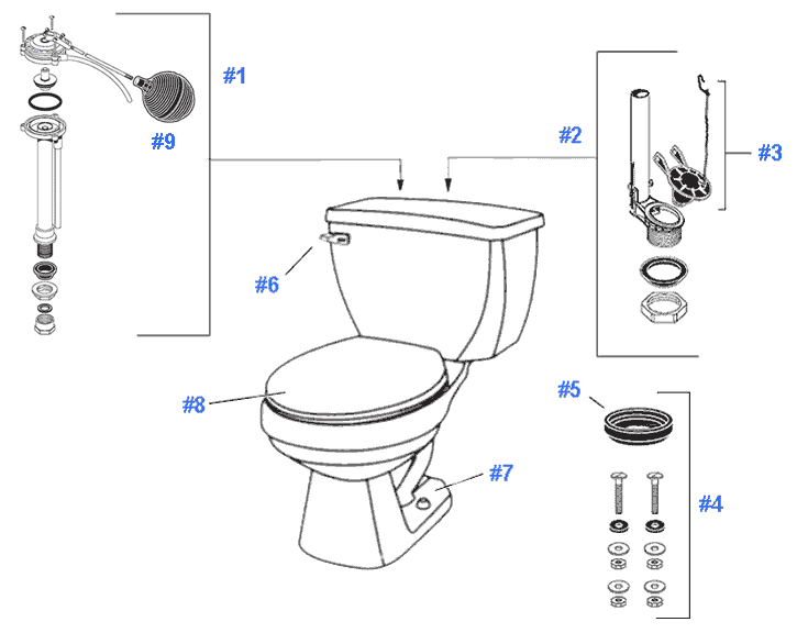 Parts diagram for Aqua Saver toiletsRepair   Replacement Parts for Gerber Aqua Saver Toilets. Toilet Bowl Tank Parts. Home Design Ideas