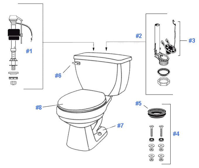 Parts diagram for Aqua Saver toilets