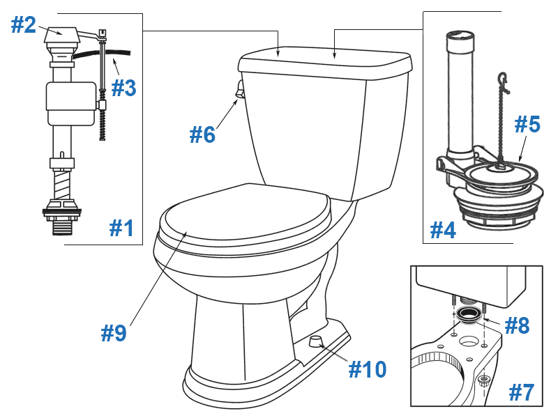 Parts diagram for Gerber Avalanche two-piece toilets - tank numbers 28-890, 28-892, 28-894, and 28-895