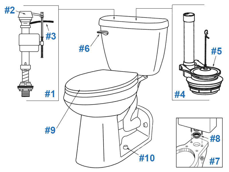 Parts diagram for Maxwell back outlet toilets - tank number 28-980