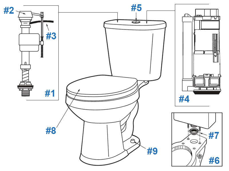 Parts diagram for Maxwell dual flush two-piece toilets - tank DF-28-994