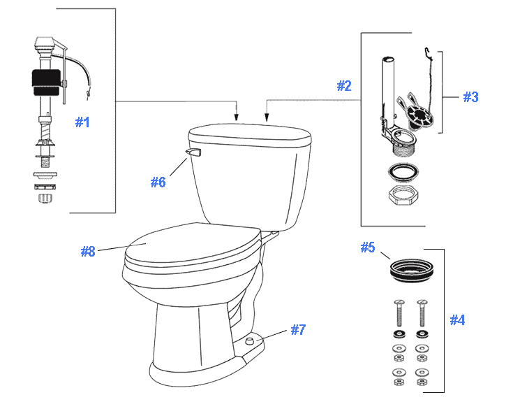 Parts diagram for Maxwell toilets