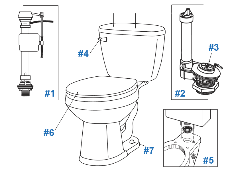 Parts diagram for Maxwell SE two-piece toilets - tank numbers 28-170 and 28-174