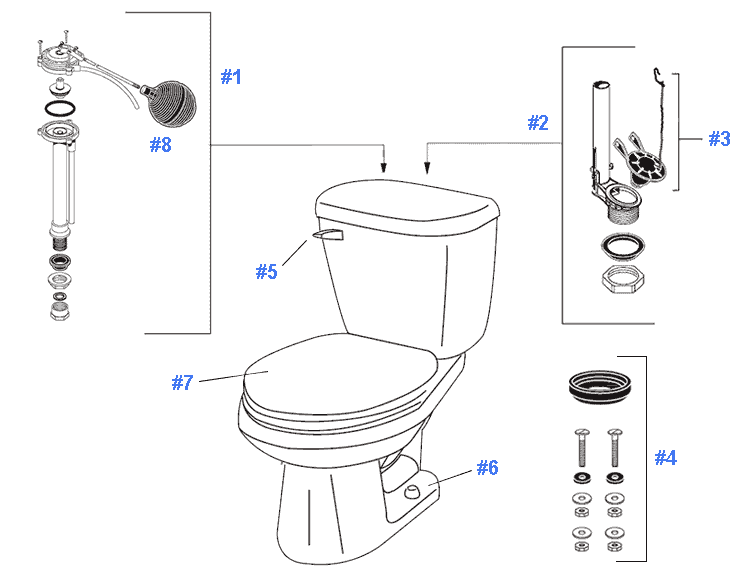 Repair Replacement Parts For Gerber Maxwell Toilets