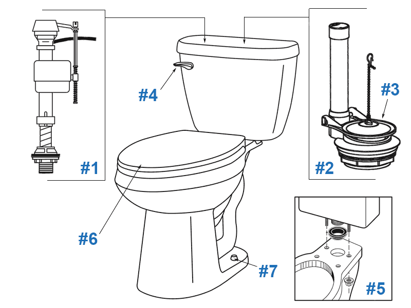 Parts diagram for Maxwell two-piece toilets - tank numbers 28-992 and 28-994