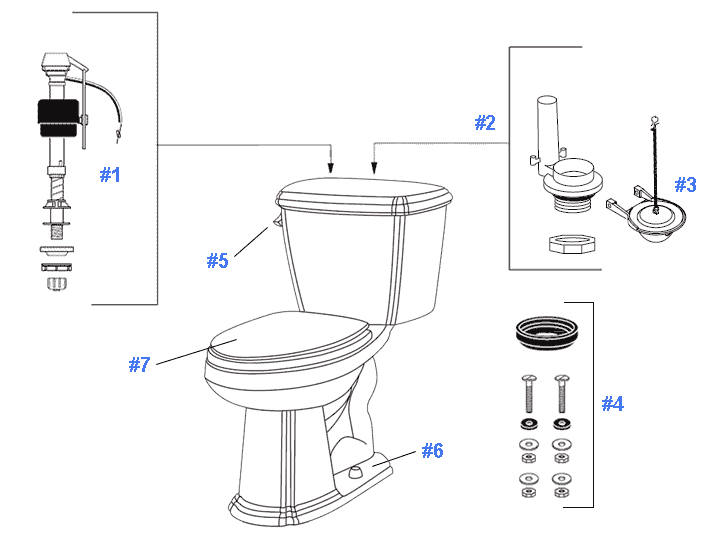 Parts diagram for Picturesque toilets