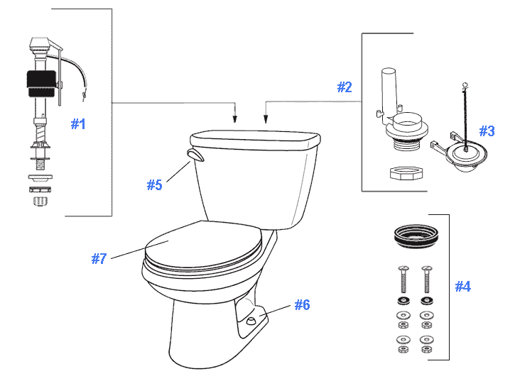 replacing toilet tank parts. Parts diagram for Viper toilets Repair  Replacement Gerber Toilets