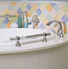 Example Of Horizontal Grab Bars Deck Mounted Onto A Tub Surround