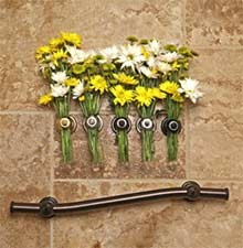 Wave grab bar installed with flowers