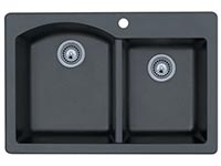 Double bowl contemporary top mount kitchen sink