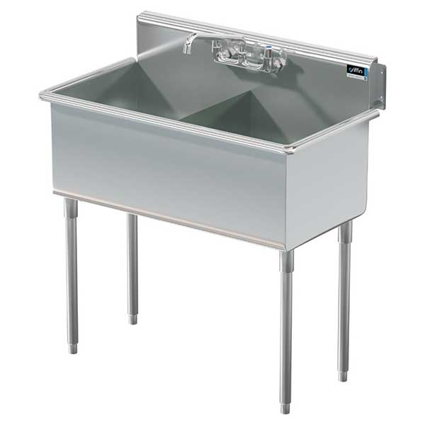 Griffin two bowl stainless steel square corner commercial sink